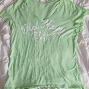 Old Navy Lime Green V Neck T-shirt